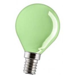 15D1/G/E14 15W лампа накал. зеленая капля GE