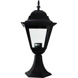 Светильник садово-парковый 4104 четырехгранный на постамент 60W E27 230V, черный