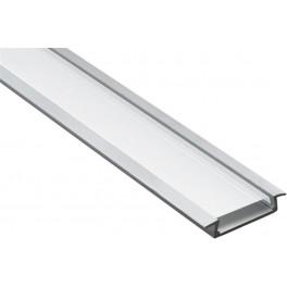 Профиль алюминиевый встраиваемый широкий, серебро, CAB252