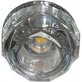 Светильник встраиваемый светодиодный JD190 потолочный 10W 3000K прозрачный хром
