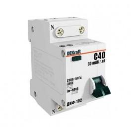 Выключатель авт. диф. тока 1п+N 2мод. C 16А 30мА тип AC ДИФ-102 4.5кА DEKraft
