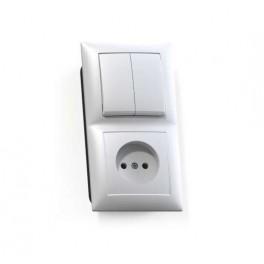 Блок СП БКВР-409 Селена (2-кл. выкл. + розетка) бел. Кунцево