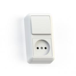 Блок комбинированный ОП БКВР-427 Оптима (1-кл. выкл. + розетка) бел. Кунцево
