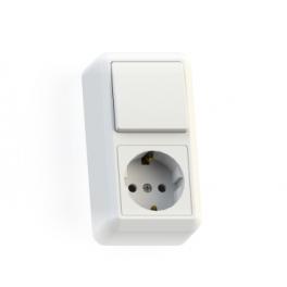 Блок комбинированный ОП БКВР-405 Оптима (1-кл. выкл. + розетка с заземл.) бел. Кунцево