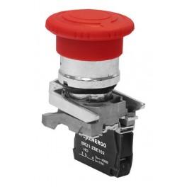 Выключатель кнопочный ВК21-ВS542 1р красный гриб с фиксацией (возврат поворотом)