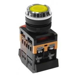 Кнопочный выключатель ABLFS-22 желтая с подсветкой 1з+1р 230В