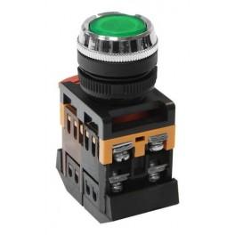 Кнопочный выключатель ABLFS-22 зеленая с подсветкой 1з+1р 230В