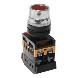 Кнопочный выключатель ABLF-22 красная с подсветкой 1з+1р 230В