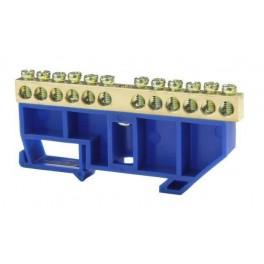 Шина нулевая 'N' 12 6х9 мм (с синим DIN-изолятором)
