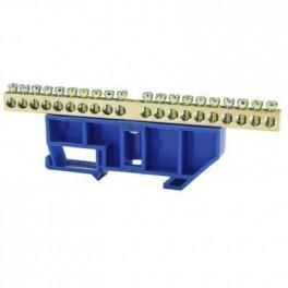 Шина нулевая 'N' 20 6х9 мм (с синим DIN-изолятором)