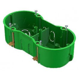 Коробка установочная с/у 2-х мест. 140х70х45 для полых стен металл. зажимы