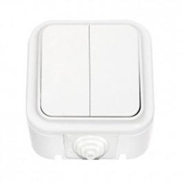 Выключатель 'Пралеска' белый о\у 2кл. б/з (250В,6А) IP54